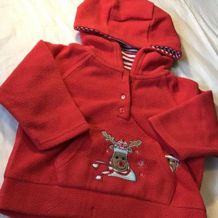 3-6 Month Red Christmas Theme Hoodie
